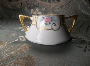 Z.S.& C. vintage antique hand painted porcelain sugar bowl