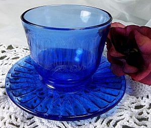 Vintage blue glass desert cup