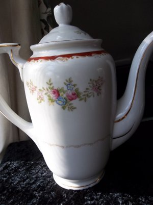 Vintage antique hand-painted porcelain made in Japan Sunray china coffee, chocolate pot.