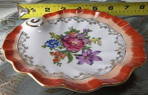"antique vintage white/floral porcelain ""made in occupied Japan"" dish with gold trim"
