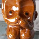 antique vintage brown ceramic monkey planter or bird house. numbered and made in china