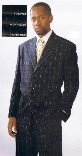 BROKEN PINSTRIPE THREE-BUTTON SUIT