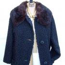 Vintage Black Faux Persian Lamb Brown Detachable Fur Collar Size Medium