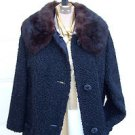JUST REDUCED Vintage Black Faux Persian Lamb Brown Detachable Fur Collar Size Me