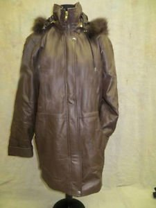 Images Dark Brown Leather Coat with Fox Fur Trim On Hood Size Small