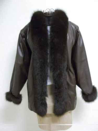 Brown Leather Suzette International Brand Brown Fur Trim Cuffs & Collar