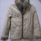 Gorgeous Tan Quilted Beige Reversible Fox Fur Hip Length Women's Jacket sz s/med
