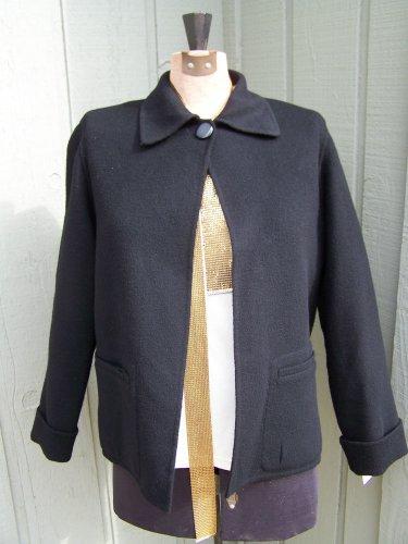 Carole Little Light Black Blazer/Coat lined with DETACHABLE fur collar Sz Sm/Med