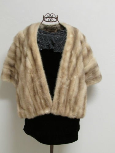 Vintage Beauty Blonde Mink Stole By Bullock's Santa Ana With long Front Panels