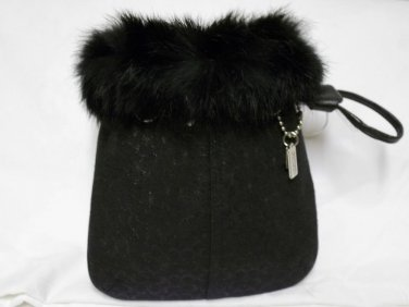 RARE! Black Fur Trim Mint Coach Wristlet Bag Purse Coach Expert Authenticated