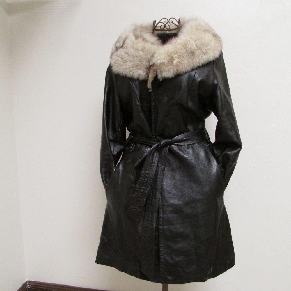 Beautiful Knee Length Women's Vintage Black Leather Jacket Size 14