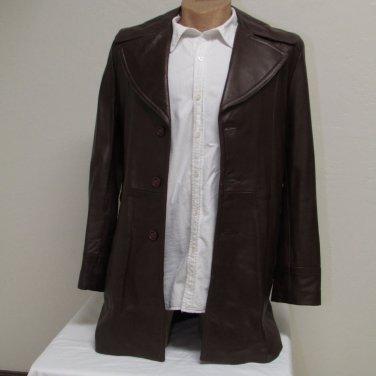 Men's Vintage Bermans Brown Leather Coat Size 40