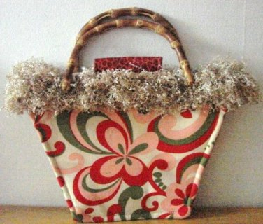 NWOT Bag Daddy Fun Funky Paisley Design Cream With Pink Red & Green Size Small