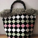 NWOT Bag Daddy Fabric Lime Green Pink Black Handbag Black Bamboo Style Handles