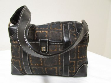 Vintage Liz Claiborne Black With Brown And Gold Fabric Shoulder Handbag Sz S