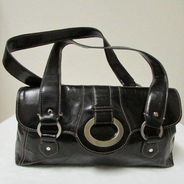Beautiful Stylish Apt 9 Black Leather Handbag With Silver Tone Hardware