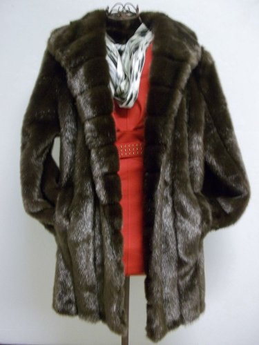 Dennis Basso Dark Brown Beautiful Faux Fur Sz Large