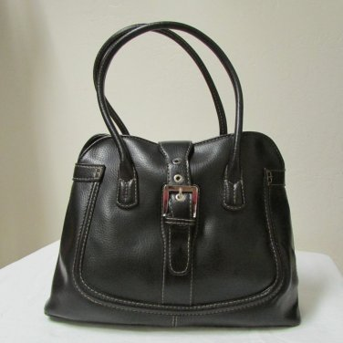 Jones New York Faux Black Leather Shoulder Bag