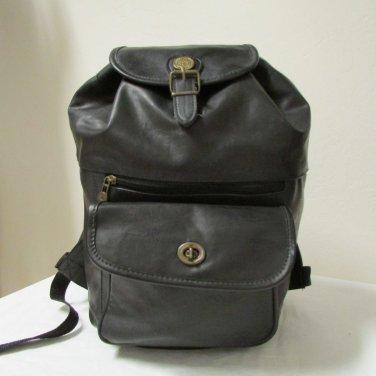 Breve Accessories Large Black Faux Leather Backpack Sling Shoulder Slouch Bag