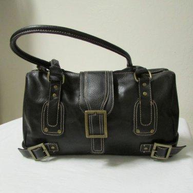 Soft Supple Black Leather Shoulder Messenger Tote Hobo Handbag Purse
