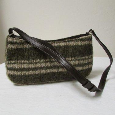 Kenneth Cole Knit Tweed Green and Cream Shoulder Handbag Purse