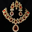 Royal Red Kundan Indian Costume Jewelry Necklace Set