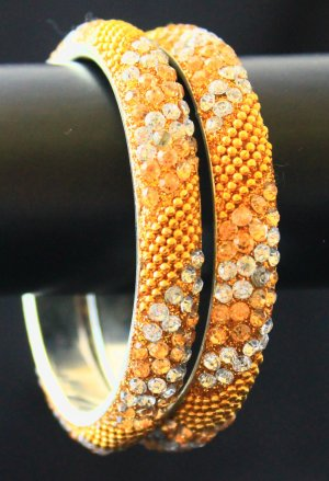Festive yellow crystal indian lakh bangles