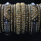 Black maharani lakh and Zircon stone ethnic indian bangle set