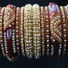 Blushing bride red  lakh and Zircon stone indian bangle set