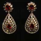 Red Kundan Teardrop Indian Earrings