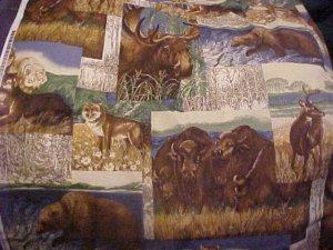 Cranston VIP Western Wildlife Cotton Fabric - 3/4 yd - Buffalo Wolf Bear Moose