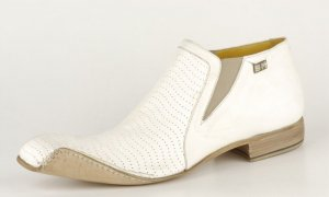 SEBASTIANO MIGLIORE ANKLE BOOTS 2007 COLLECTION HAND MADE WHITE 44/11