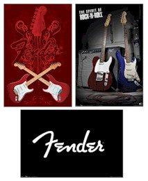 "Fender Guitar - 3  22'' x 34"" Poster Set"