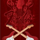 "Guitar - Fender Crossed  24'' x 36""  Music Poster"