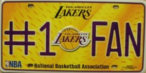 Los Angeles Lakers #1 Fan NBA Embossed Metal Novelty License Plate Tag Sign