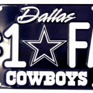 Dallas Cowboys #1 Fan NFL Embossed Metal Novelty License Plate Tag Sign