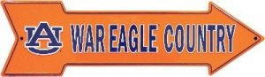 NCAA University of Auburn AU Tigers War Eagle Country Embossed Metal Arrow Sign