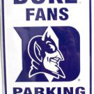 Duke University Blue Devils Duke Fans Parking Only Novelty Embossed Metal
