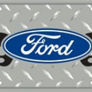 Ford Flame Diamond Plate Embossed Metal Novelty License Plate Tag Sign
