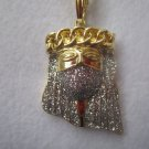 14K Gold Plated Iced Out Ski Mask Jesus With Cuban Crown