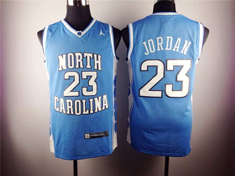 Michael Jordan 23 North Carolina Basketball Lightblue Sewn Jersey Size S-2XL