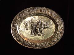 Brass Oval Plate, Dutch Skaters circa 1940