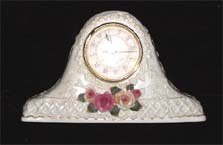 Ceramic Victorian Mantle Clock, Raised Rose Motif, circa 1960
