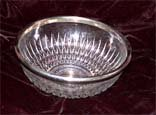 Crystal Serving Bowl with Silver Rim, circa 1930-1940