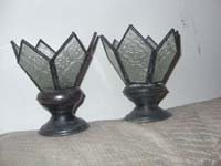 Vintage Wrought Iron and Acrylic Candle Holders