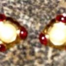 Vintage Gold and Ruby Clip On Earrings by Monet