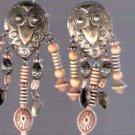 Vintage Tribal Silver Owl Earrings
