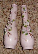 Vintage Pink Lefton Bud Vase, Applied Flowers , 1950