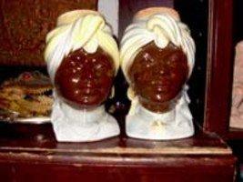Royal Copley Blackamoor Couple Head Wall Pockets (Man and Woman)
