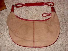 Brown and Maroon Canvas Purse by Liz Clairborne